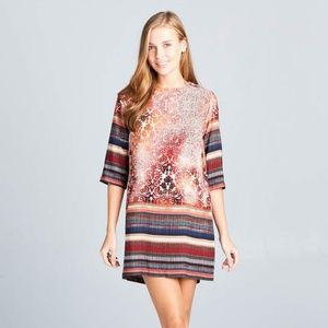 ReneeC. Women's Trendy Boho Print Mini Dress RUST
